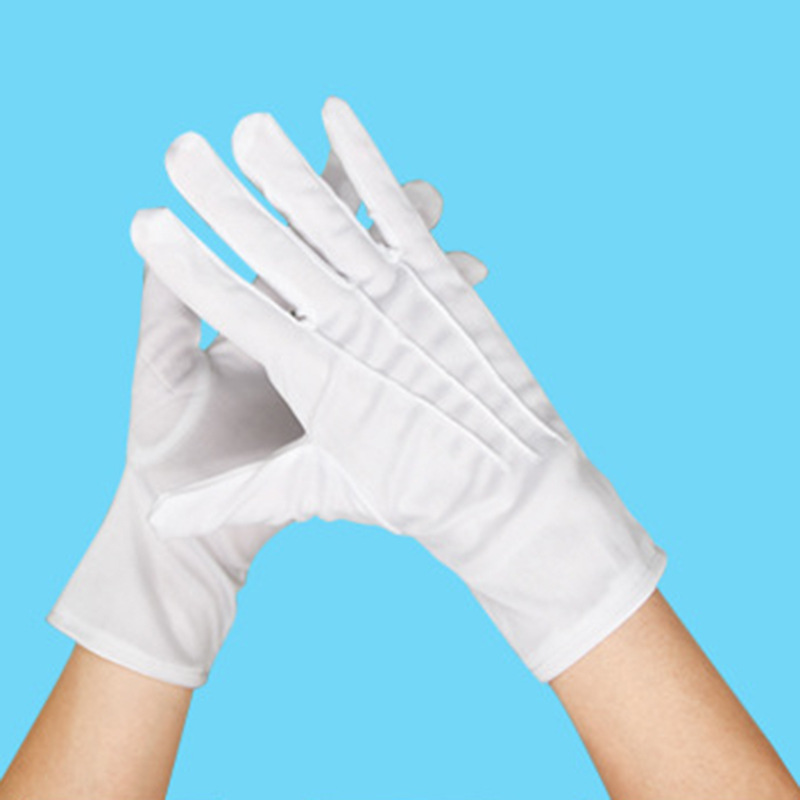 1 Pair Classic White Safety Gloves Men Summer/Autumn Etiquette Well Stretch Gloves Dance White Elastic New Jewelry Safety Gloves
