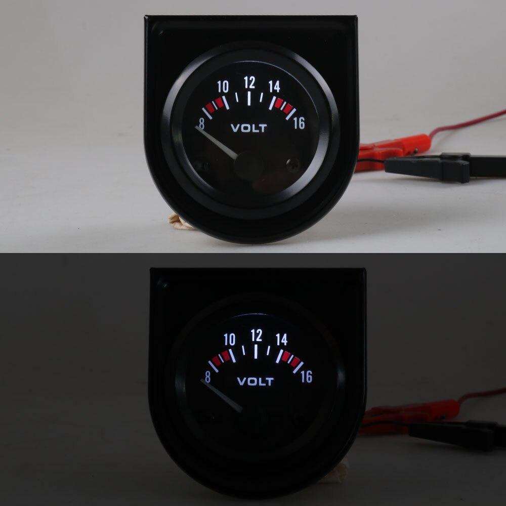 """Вольтметр """" 52 мм Универсальный 8-16 вольт метр Белый светодиодный Вольт Калибр автомобиль метр гонки метр YC10007"""