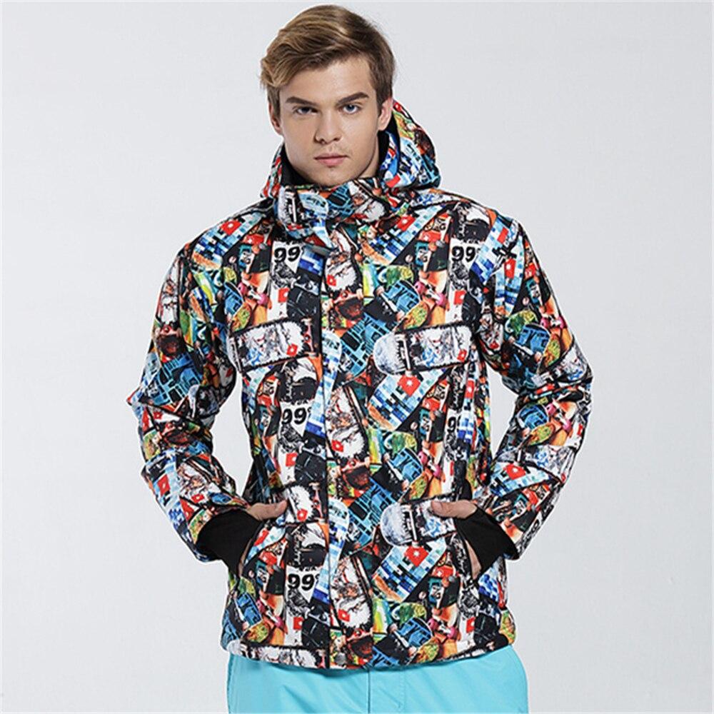 Gsou snow nuevas chaquetas de esquí de los hombres a prueba de viento impermeabl