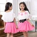 Vestidos de Chiffon para a Menina Vestido de Manga Curta Tamanho Grande Vestido de Verão Crianças Roupa Infantil Vestidos Casuais 4T-12Y Roupas Flor
