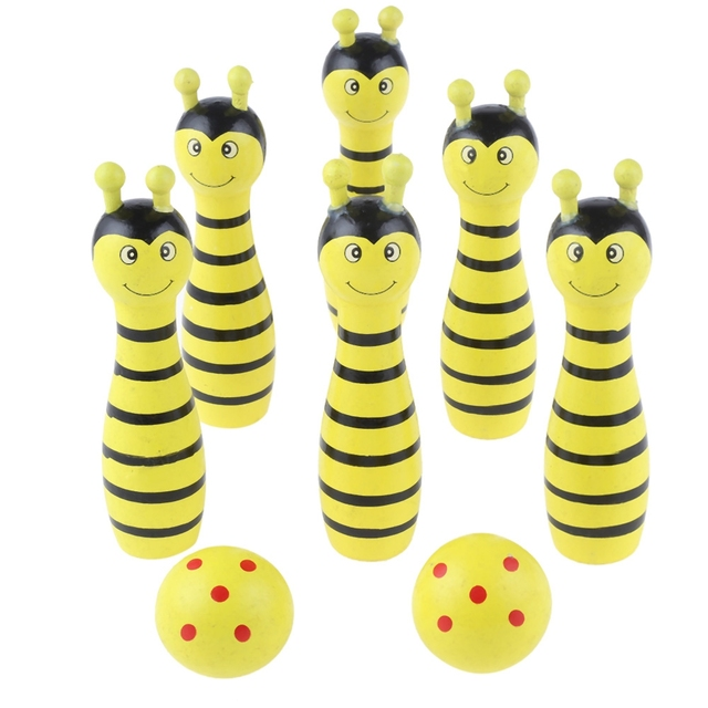Мини Деревянный мультяшный игрушечный шар для боулинга милые пчелы коровы муравьи лягушки в форме животных магический шар математика развивающие игрушки для детей