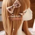 Princesa dulce lolita Guinga bowknot horquilla Horquilla de encaje Hecho A Mano DIY pinza de pelo de perlas de chocolate GSH070