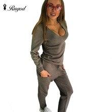 Rugod 2017 nueva primavera sexy chándal de las mujeres 2 de dos piezas suéter de la tapa + Pantalones Traje de Punto Sólido Out Fit Con Cuello En V Twinset caída