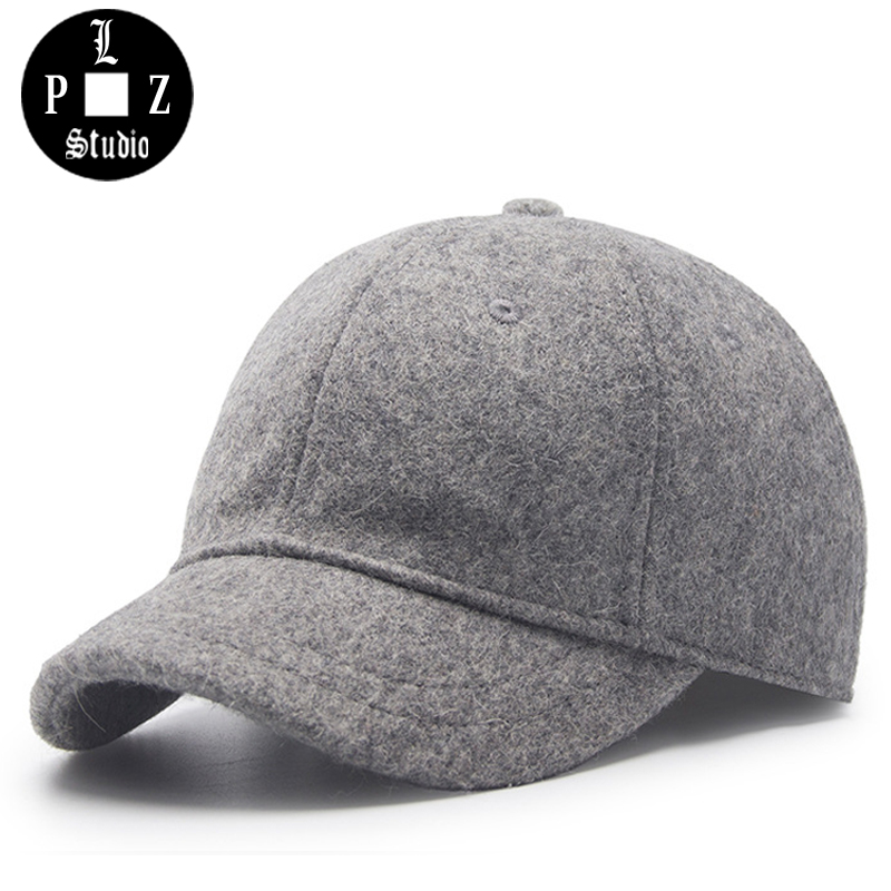 PLZ Winter Wool Hat Men Baseball Cap Adjustable Fashion New Warm Solid Black Gray Hats Short Visor Woolen Caps 35colors silver gold soild india scarf cap warmer ear caps yoga hedging headwrap men and women beanies multicolor fold hat 1pc