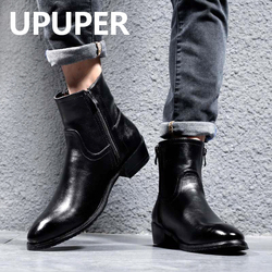 Genuine Leather Autumn Winter Boots Men High Top Chelsea Boots With Zipper Fur Fashion Pointed Toe Black Motorcycle Boots
