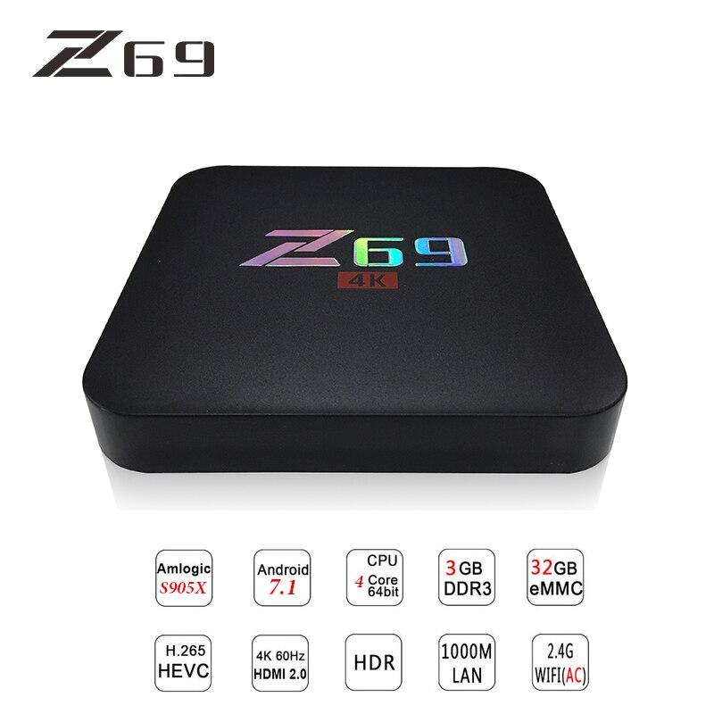 Z69 TV Box Smart Android 7.1 TV Box MINI 3G DDRS 32G 4K HD WIFI Support Set-top Box IPTV Midia Stream Player HDMI 2.0