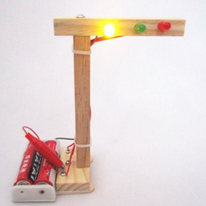 Kids Science Experiment For Children Boys DIY Toys Mini Wooden Traffic Light Led Student Gizmo Learning Education Toys Gift