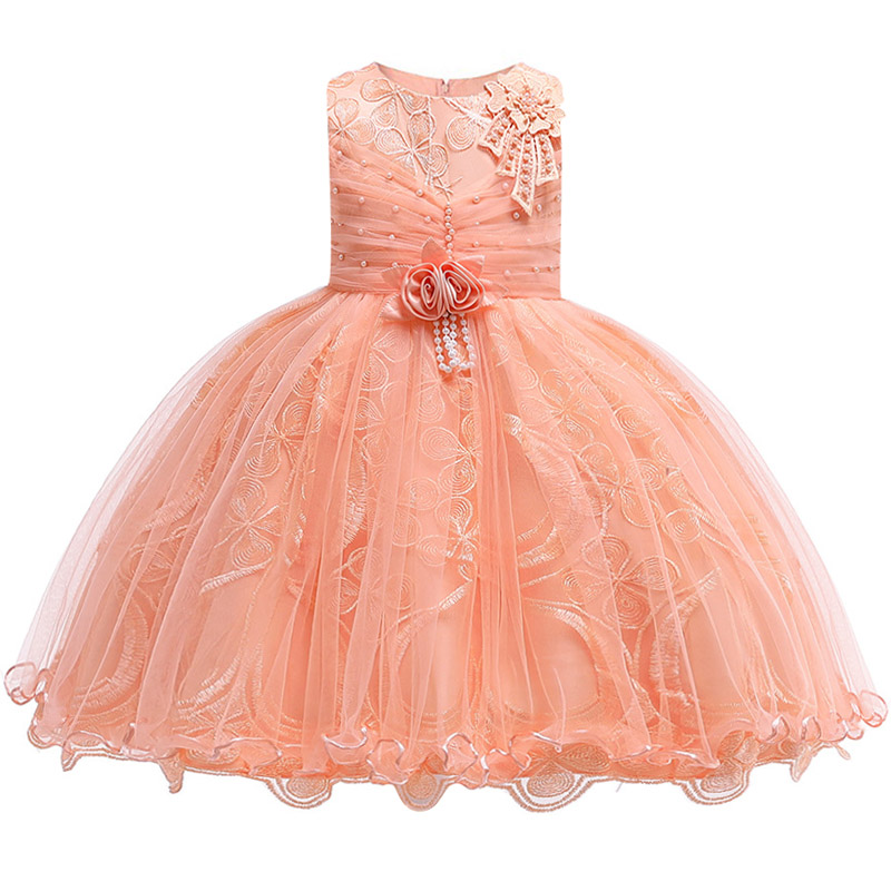 Girls Wedding Party High-end Silk Satin Party Dresses Flower Children Wedding Dress Banquet Lace Dress Piano Performance Dress