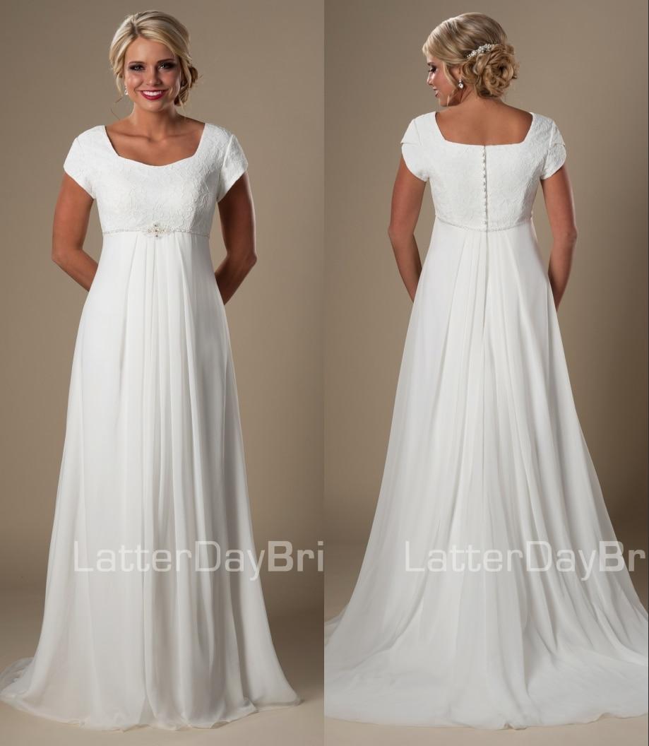Modest Wedding Dresses 2019: 2019 Informal Beach Modest Wedding Dresses Short Sleeves
