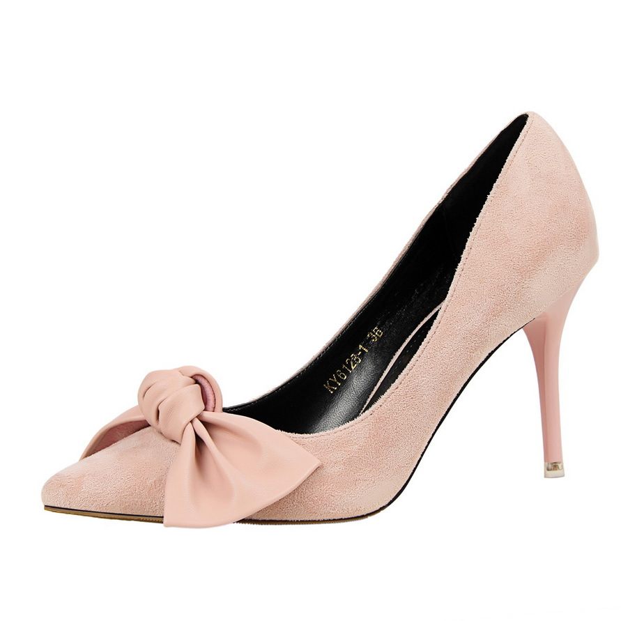 BIGTREE Spring Autumn Was thin women pumps 9 CM Fine high heels Suede Shallow mouth Pointed Bow tie shoes 16cm fine with high heels female korean version of the sexy thin bow shoes round head shallow mouth shop shoes