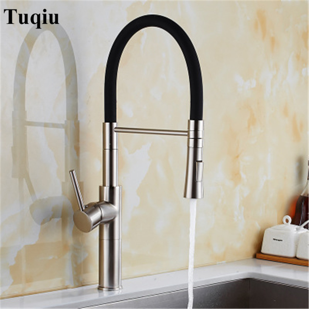 Kitchen Sink Faucet Pull Out black Nickle Brush 360 Degree Swivel Single Handle Mixer Tap Kitchen Vegetable faucet oil rubbed bronze kitchen faucet single lever pull out kitchen faucet tap square style 360 degree swivel kitchen faucet black