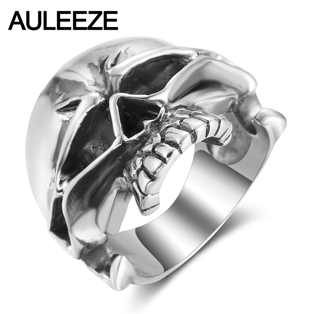 AULEEZE Halloween Terror Skull Ring Real 925 Sterling Silver Men Finger Rings Hyperbole Hip Hop Rock Silver Jewelry