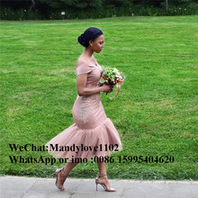 2019 Latest African Mermaid Pink Bridesmaid Dress With Appli