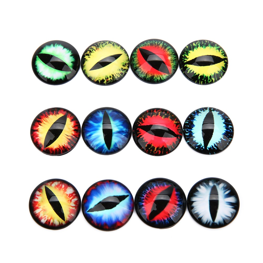 GraceAngie 20mm 40pcs Mixed Style Dragon Eyes Round time gem cover Glass Cabochon Dome Jewelry Finding Cameo Pendant Settings