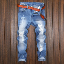 HOT 2019 Fashion Casual hip hop denim Ripped Hole Man cowboy leisure feet high street wind hole design straight jeans men fashion hole straight high quality cotton full length hip hop new brand design men jeans as agift free shipping mf7489621