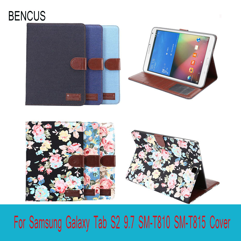 BENCUS For Samsung Galaxy Tab S2 9.7 SM-T810 SM-T815 Cover Cases Flip Smart Stand Cover for Samsung Tablet Fundas With Card Slot