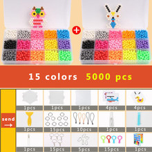 DOLLRYGA Magical Bead Solid Bead Refill Pack Water Sticky Beads Pegboard Set Bead Puzzle Toy For Children 15 Colors 5000 PCS(China)
