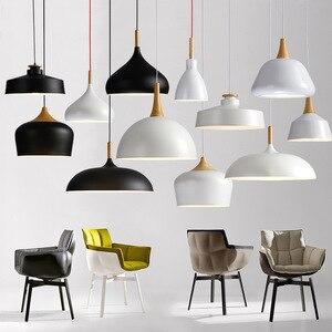 Image 2 - 現代の垂れ天井ランプ木材アルミ E27 イタリアペンダントライト、家のダイニングルームの装飾照明