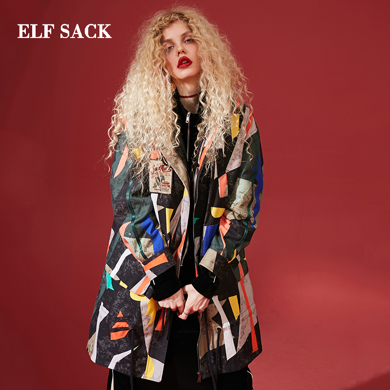 ELF SACK Winter New Fashion Oversized   Down   Jackets Woman Full Long White Duck   Down     Coat   Women Print Stylish Femme Jackets   Coats