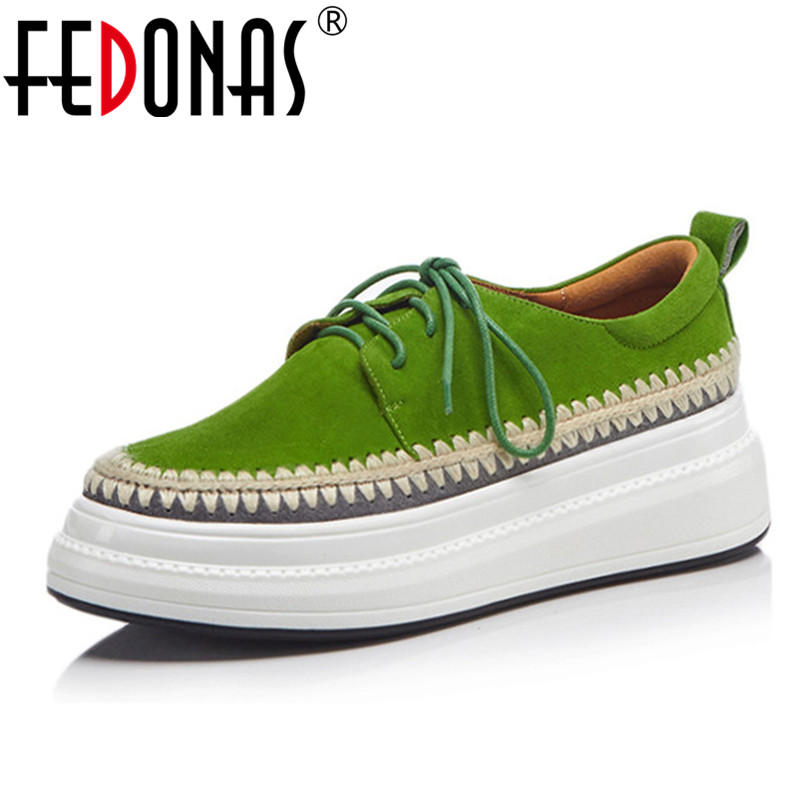 FEDONAS Fashion Women Flats Shoes Genuine Leather Round Toe Lace Up Casual Shoes Woman Platforms Loafers
