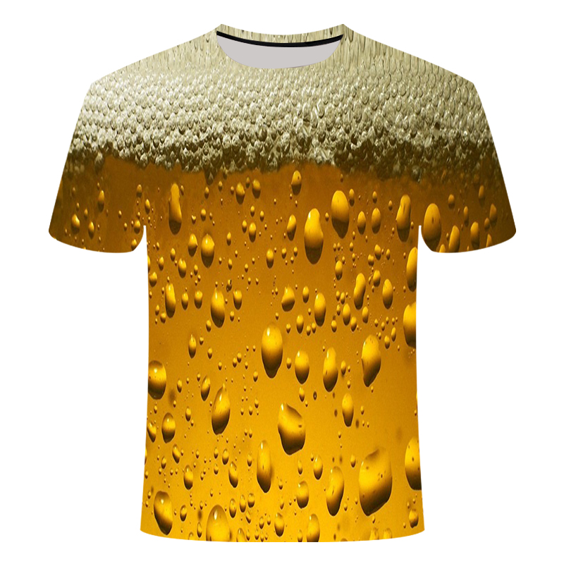 Yellow Foam Summer Beer Digital 3D Printing Tshirt Men And Women Round Neck Short-sleeved T-shirt Casual Fashion T-shirt