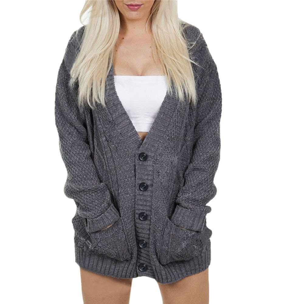 Womens Batwing Long Sleeve Loose Knitted Sweater Casual Blouse Coat Women's Bat Knit Cardigan Sweater Loose solid pocket F80