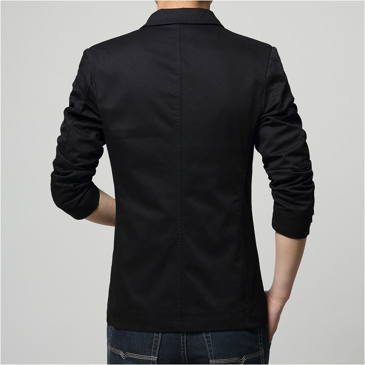 2015 Autumn Comfortable Cotton Blazers Men Two Buttons Solid Design Casual Blaser Jacket Blazer Masculino Slim Black grey khaki