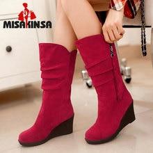 Size 28-50 Women Wedge Half Short Ankle Boots Rainbow Color Winter Snow Boot Fashion Footwear Warm Botas Feminina Shoes