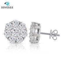 DovEggs Sterling Solid 925 Silver Center 1.9CTW  4mm Moissanite Stud Earrings for Women Push Back Flower Shaped