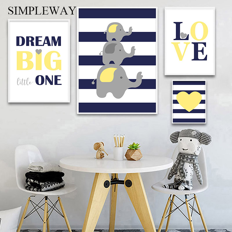 Navy Blue Yellow Canvas Poster Nursery