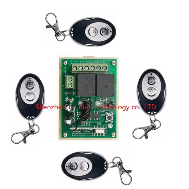 Hot Sales DC12V 2CH 10A Wireless Remote Control Switch System 1*Receiver and 4* ellipse shape Transmitter Applicance Garage Door