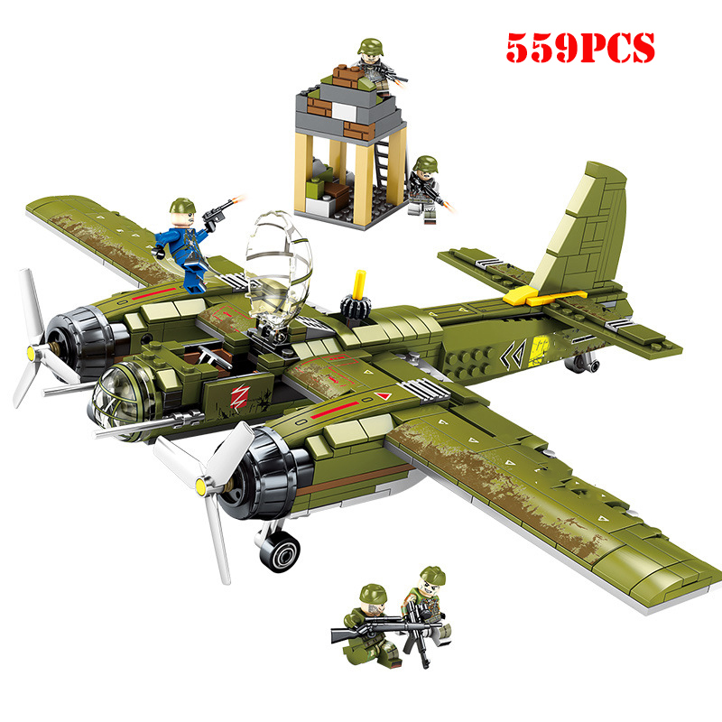 559pcs WW2 Military Bomber Building Blocks Army Soldier Figures Compatible Legoing City Helicopter Weapon Brick Child