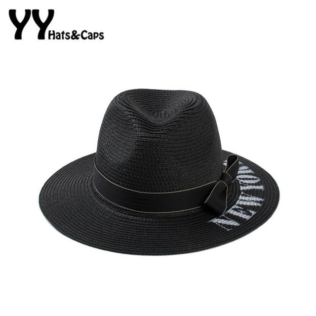 094a443ee62 Retro Summer Sun Hats For Women Letter New York Straw Hats Panama For Men Fedora  Beach