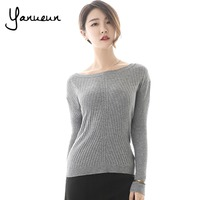 Colorful Apparel Womens Autumn Winter Cashmere Blend Sweater O Neck Pullovers Long Sleeve Jumpers Womens Knitted
