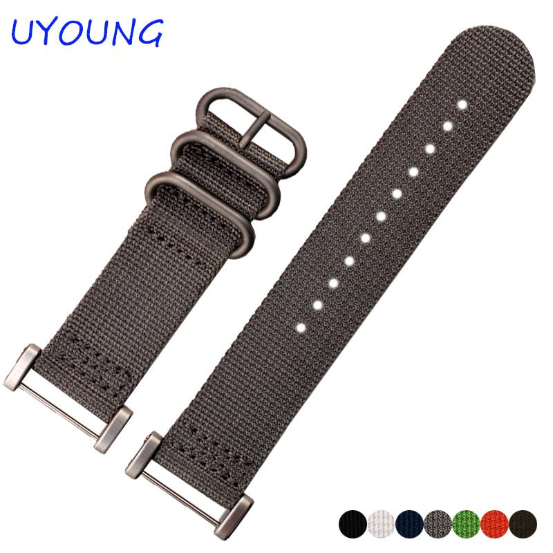 Prix pour Pour suunto core sangle 24mm qualité otan nylon bracelet avec adaptateur noir bleu bracelet