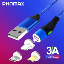 PHOMAX  Magnetic USB Cable LED For iPhone Xs 8 & TypeC Micro Nylon Braided for Samsung S8 S9 Xiaomi Huawei C