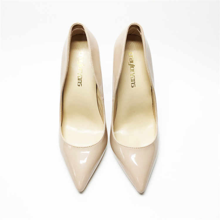 Seksi kadın ince yüksek topuklu patent kadın pompaları parti ayakkabıları