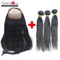 Pré Arrancadas 360 Lace Frontal Encerramento com Bundles Brasileiro Virgem Cabelo com Encerramento Cabelo reto de seda cabelo Humano Em Linha Reta