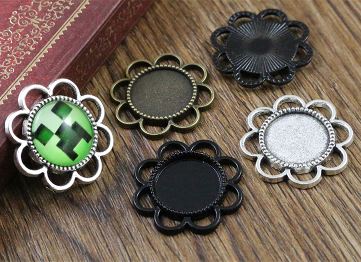 15pcs 14mm Inner Size Antique Bronze And Silver ,Black Flower Style Cabochon Base Cameo Setting Charms Pendant