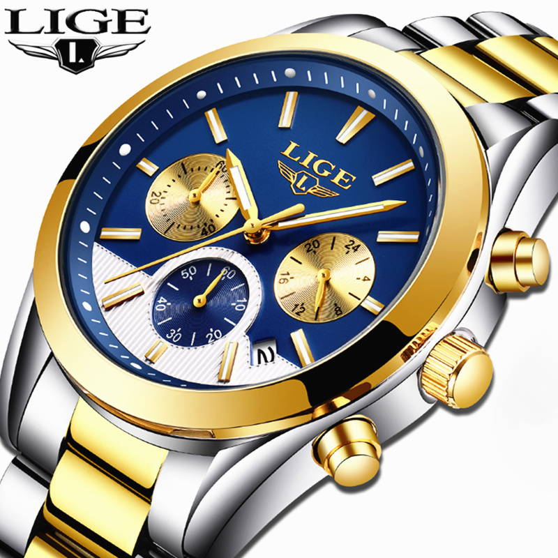 LIGE Top Brand Luxury Mens Watches Men's Fashion Business Quartz Watch Men Waterproof Full steel Sport Watch Relogio Masculino