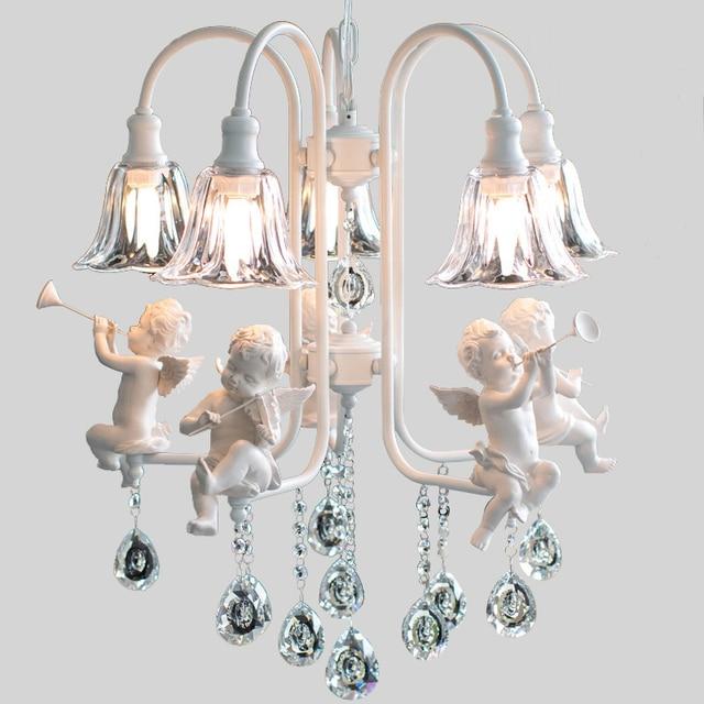 Modern crystal Chandeliers with the angel for living room light modern lamps lustre lights led Chandelier Indoor Home Lighting