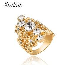 все цены на Fashion Geometric Flower Hollow Ring Mosaic Large Rhinestone Gold Color Alloy Ring For Women Engagement Gift Jewelry онлайн