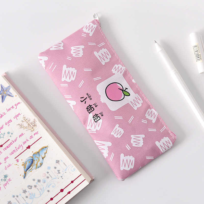 1Pcs Kawaii Pencil Case Girl powder canvas Gift Estuches School Pencil Box Pencilcase Pencil Bag School Supplies Stationery