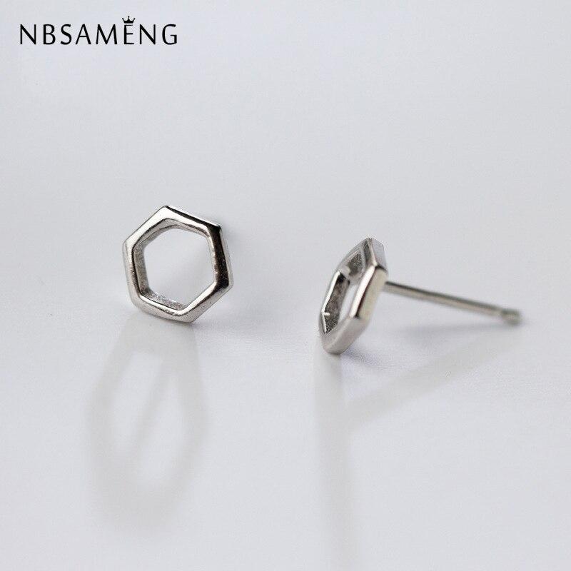 925 Sterling Silver hexagon stud earrings