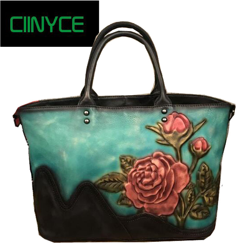 Small Leather Bags 2018 New Style Women Handbags Handmade Genuine Cow Leather Shoulder Crossbody bags Flower women handmade carved flowers genuine leather shoulder bags cow leather crossbody handbags