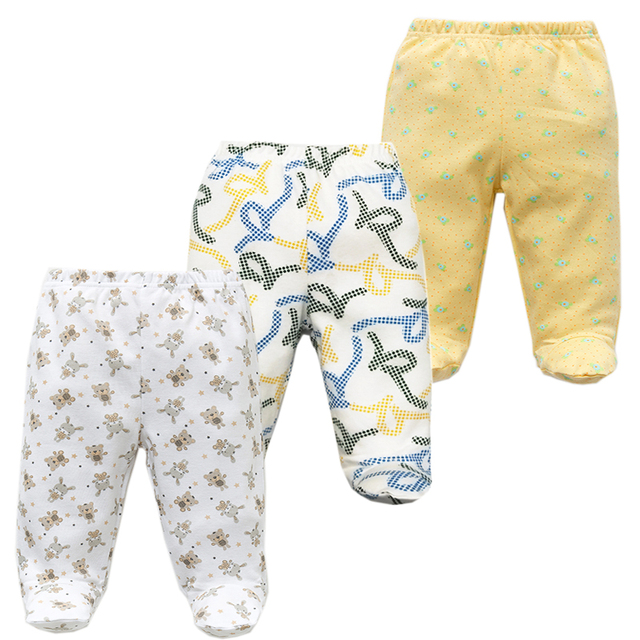 3PCS/lot Baby Pants 100% Cotton Autumn Spring Newborn Baby Boys Girls Trousers Kid Wear Infant Toddler Cartoon For Baby Clothing 2