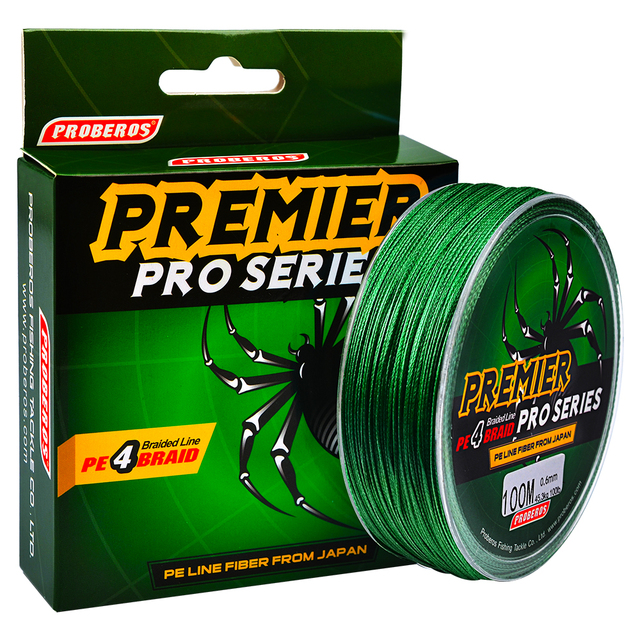 Ocean Rock Fishing 4 Stands 4 Weaves 6LB 100LB Japan Braided Wires Spectra 100M Pe Braided Fishing Line Green Super Pe Line B4