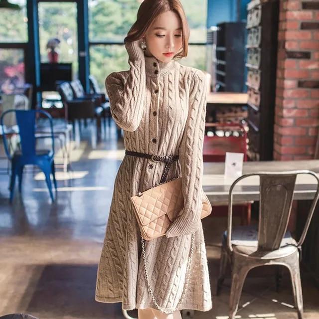 Autumn Winter Warm Thick Sweater Dress Women Button Sashes Knitted Dress Turtleneck Long Sleeve Pullover Dress