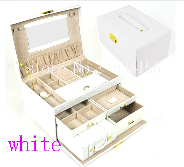 luxurious 3 layers white leather jewelry box earrings jewelry packaging display box gift box 28.5 * 19 * 16 cm