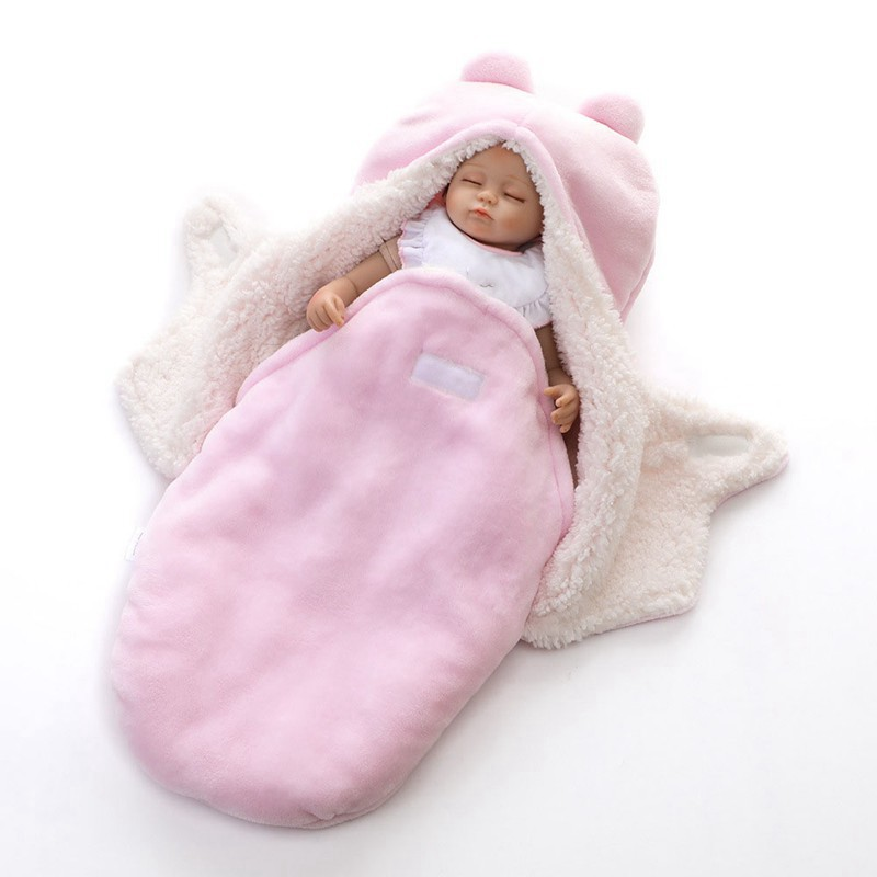 MOTOHOOD Winter New Baby Blankets Thicken Double Layer Coral Fleece Infant Swaddle Wrap Newborn Baby Bedding Blanket 0-12m (12)
